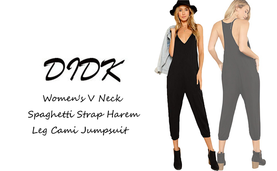 7d3a4c1ff2 Amazon.com  DIDK Women s V Neck Spaghetti Strap Harem Leg Cami ...