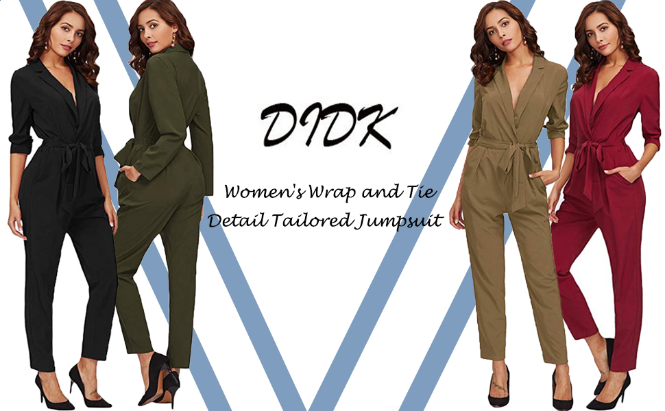 ed0a8ff45c85 Amazon.com  DIDK Women s Wrap and Tie Detail Tailored Jumpsuit  Clothing