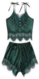 b18177f03e25c Lace Trim Satin Cami and Shorts Pajama Set · Spaghetti strap lace pajamas  set · Lace Trim Satin Bralette and Shorts PJ Set · Plain Scalloped Trim  Floral ...