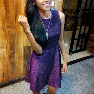 sleeveless flared sparkle dress