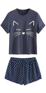 Cartoon Print Tee and Pants Pajama Set · Cartoon Print Pajamas Set · Cat  Pring Pajamas Set · Lace Trim Velvet Bralette and Shorts Pajama Set ... 7d2758c99