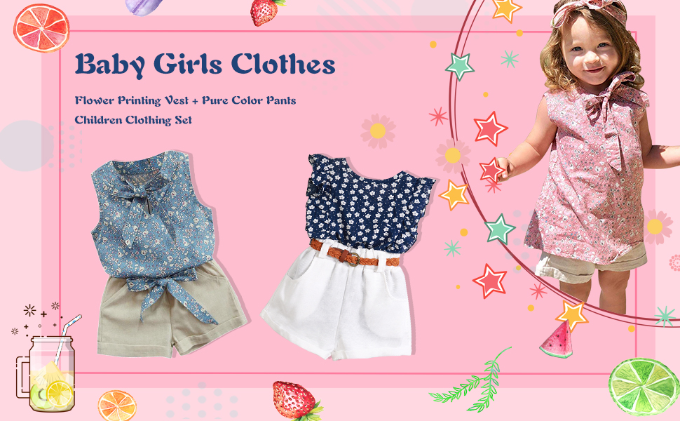 Baby Girls Flower Outfits Set Sleeveless Bow Dress Tops+Pure Color Bottoms Shorts Clothes Set