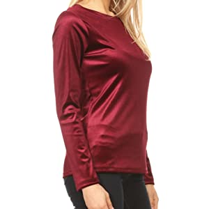 Velvet Tops for Women Long Sleeve Basic Crew Neck Glitter Stretch Slim Fit Bottoming Shirt Blouse Top