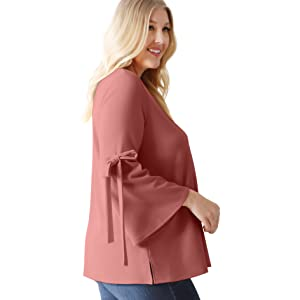 f5bb7ad379581f Flowy Dressy Tops for Women with Bow Sleeves Reg and Plus Size ...