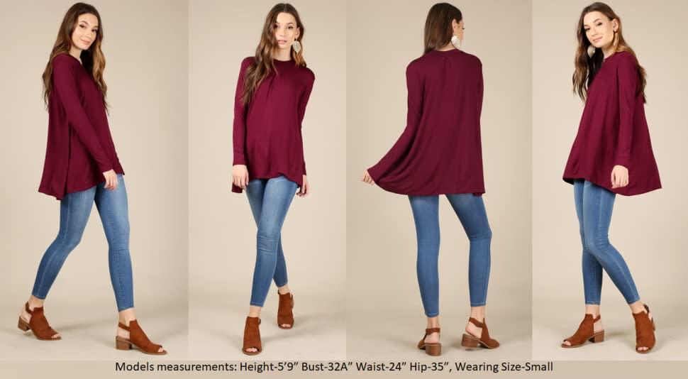 e60b4ace3bc32d Simlu Womens Long Sleeve Tunic Top with Front and Back Pleat- Made ...