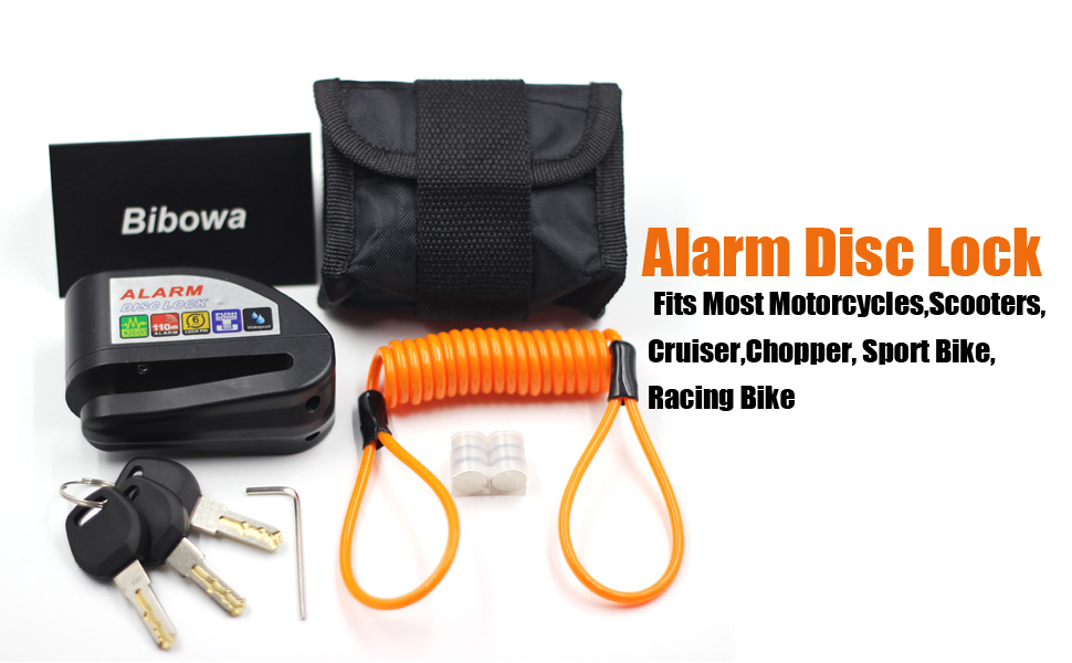 Bibowa Disc Brake Lock With Alarm - Anti -Theft Disc Lock Motorcycle Alarm with 110dB Alarm Sound 5ft Reminder Cable and Pouch Wheel Security Lock for ...