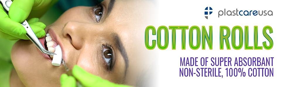 plastcare usa cotton rolls super absorbent non sterile 100% cotton