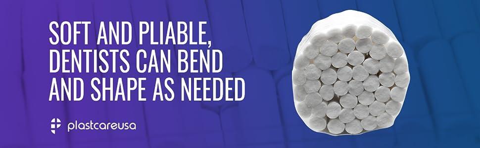 soft pliable dentists dental cotton rolls bend shape
