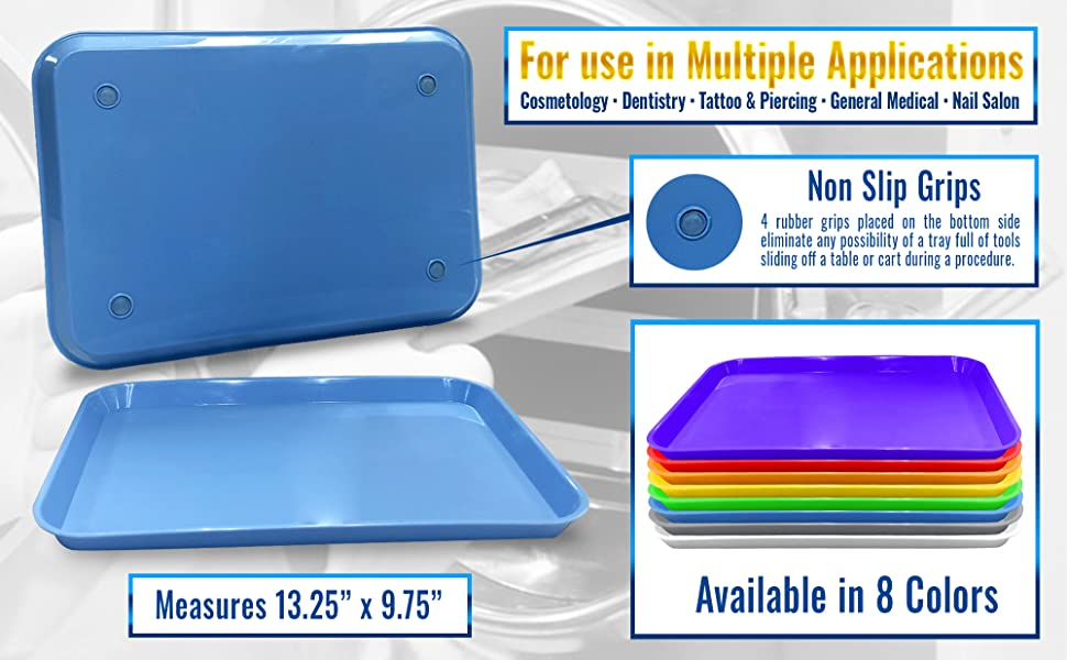 dental instrument trays non slip grips 8 color options