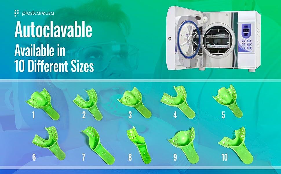 plastcare dental impression trays 10 sizes autoclavable