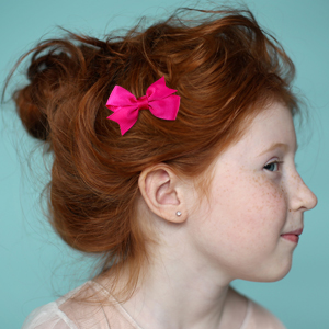Solid Pink Pinwheel Pigtail Hair Bow Set 2 MADE IN USA