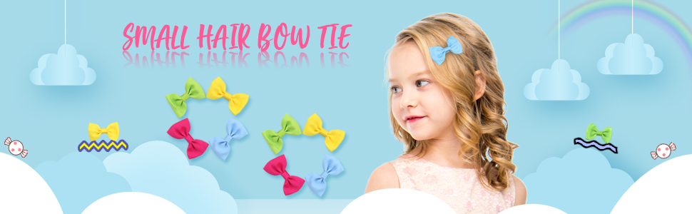 """QtGirl 20 Pairs 2.5/"""" Small Bowtie Hair Bow Clips with Hanger for Girls Baby"""