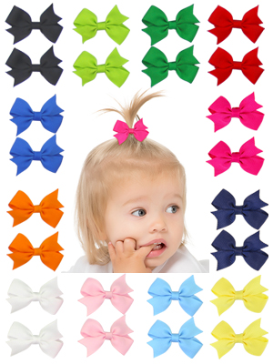 "24pcs 2/"" Mini Pinwheel Pigtail Hair Bows Grosgrain Ribbon Hairbows for Kid Girls"