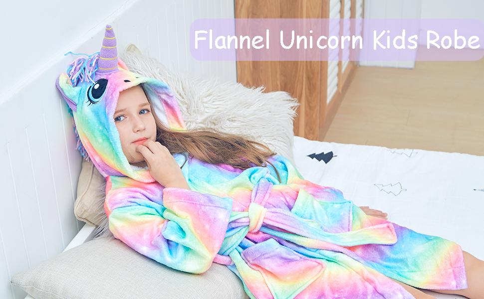 Flannel unicorn kids robe