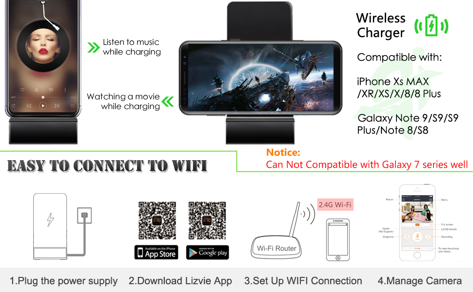 Q200 wireless spy camera charger 1080P