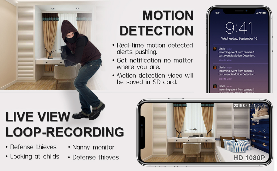 1080P wireless charger camera motion detection