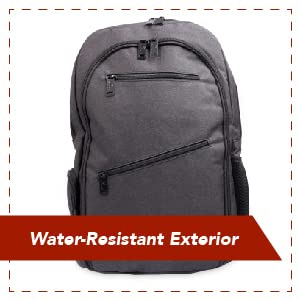 "Black Teknon backpack with multiple zipper compartments; text ""Water-Resistant Exterior"""