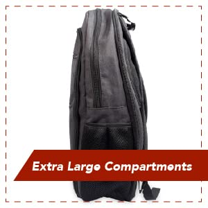 "Side view of black Teknon backpack with multiple compartments; text ""Extra large compartments"""