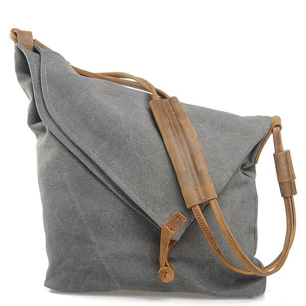 6d3bd97dc26f FXTXYMX Hobo Bags Canvas Leather Handbag Totes Shoulder Purse Fold Over Bag  for Men and Women