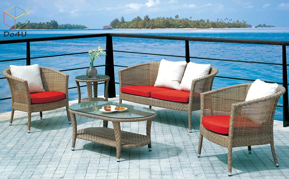 Do4U 4-Piece Set Rattan Patio Furniture Set Outdoor Sofa Wicker Conversation Set Weather Resistant Cushions Tempered Glass Tabletop| Porch, Backyard, ...