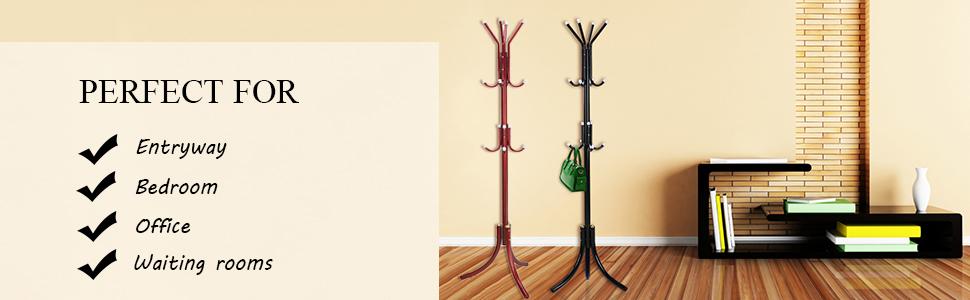 Amazon.com: Do4U - Perchero de pie de metal con 3 niveles ...