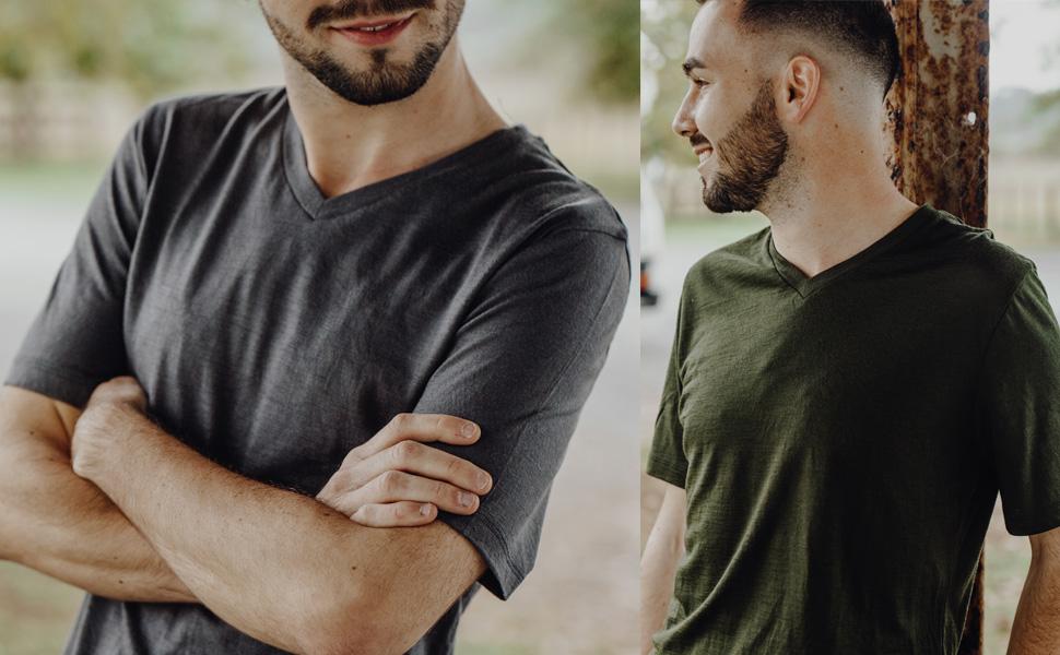 merino 365 v neck short sleeve 100% new zealand merino wool men's men top shirt baselayer