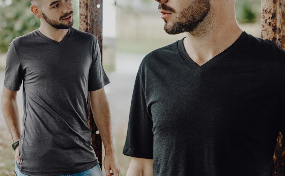 merino 365 mens men's v neck short sleeve t tee shirt new zealand merino