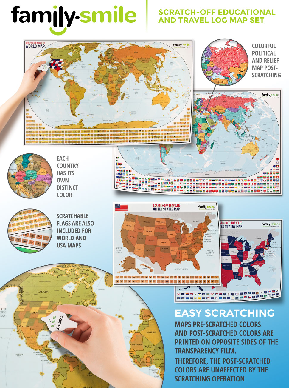 Family Smile S Scratch Off Educational And Travel Log Map Set Is A Product Aimed At Extending Your Traveling Abroad And World Educational Experience