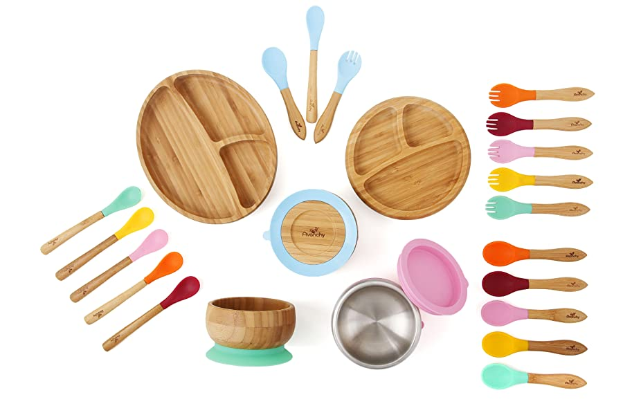 Spoon Magenta Avanchy Bamboo Suction Toddler Plate