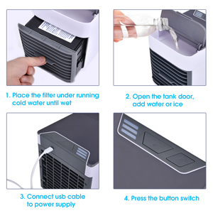 Air Conditioner Humidifier Air Cooler Fan with 2 Water Tanks Portable Refrigeration Fan