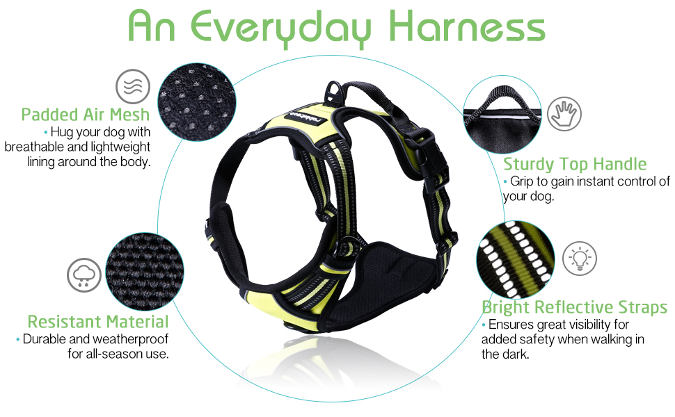 rabbitgoo no pull dog harness for medium large dogs adjustable pet vest harnesses reflective safety