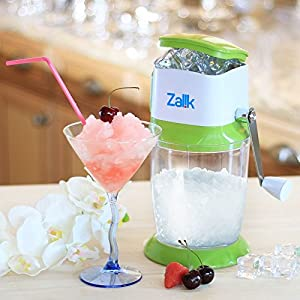 Essential Kitchen Tool Bar Accessory by Zalik Ice Crusher Grinder Shaver Manual Ice Chipper For Fine Or Coarse Pieces 430 Stainless Steel Blade Strongest Heaviest Duty With Large 50 OZ Bucket