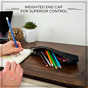 "Hands drawing with Blackwing Colors beneath the words ""weighted end cap for superior control"""