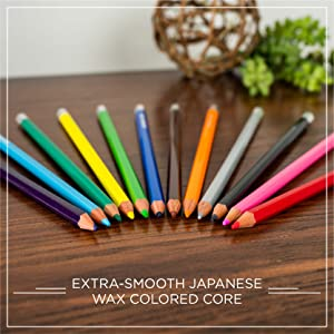 "12 different Blackwing colored pencils on desk above words ""extra-smooth Japanese wax colored core"""