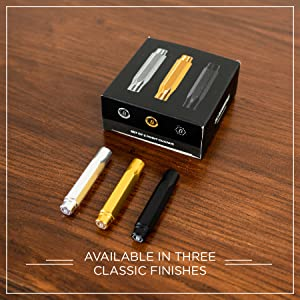 """Blackwing Point Guards on table next to packaging, says """"available in 3 classic finishes"""""""