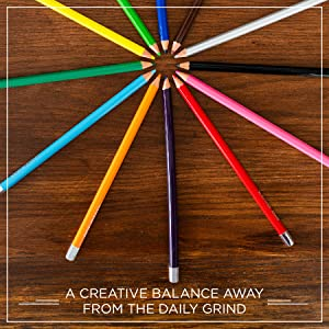 "12 Blackwing Colors on desk in a circle by words, ""A creative balance away from the daily grind"""