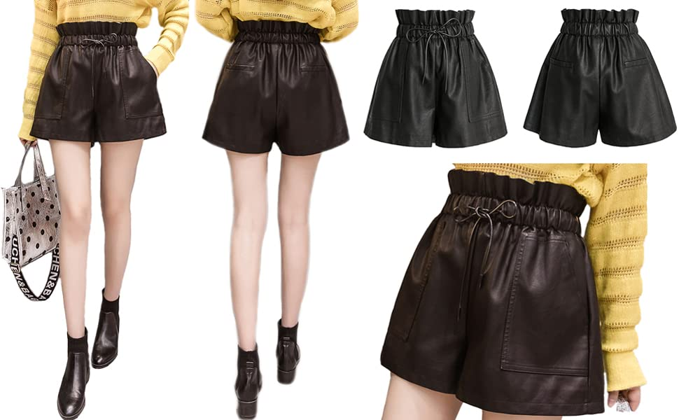 Elastic high waisted wide leg faux pu leather shorts for women