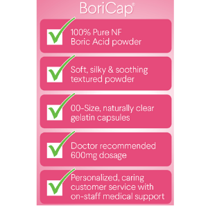 BoriCap Boric Acid Vaginal Suppositories | 30 Count, 600mg | Capsules Size  00 | No Fillers, Flow Agents or