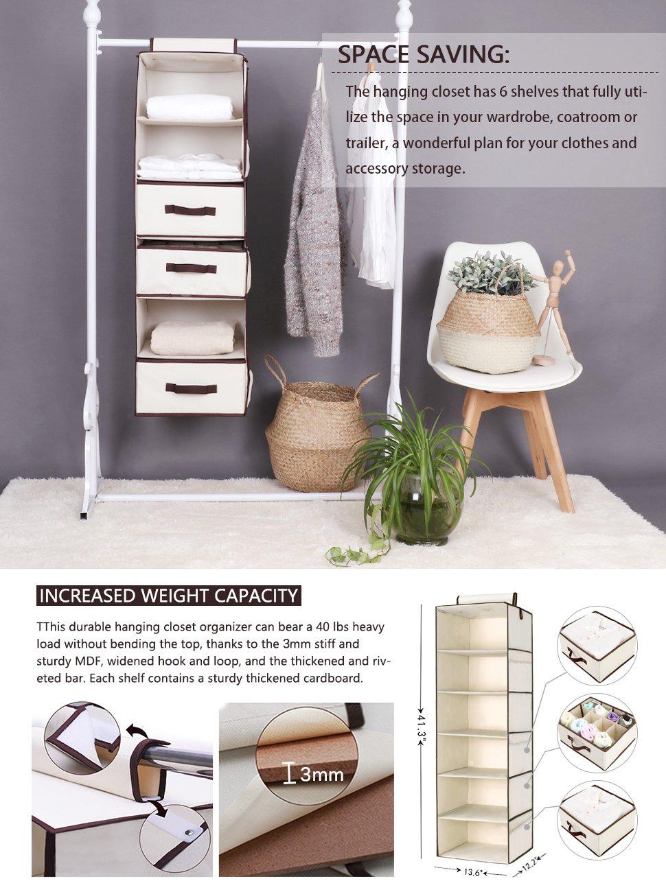 StorageWorks Polyester Canvas Hanging Closet Organizer With 2 Drawers U0026 1  Underwear Drawer, Foldable Hanging Accessory Shelves, Natural, 6 Shelf