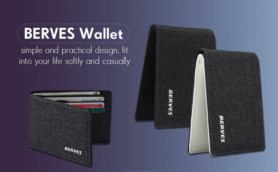 White BERVES Mens Front Pocket Wallets Unique Black Denim Cowhide Leather Wallet for Men with RFID Blocking Card Cases Holder Money Organizers