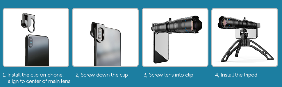 how to install telephoto lens