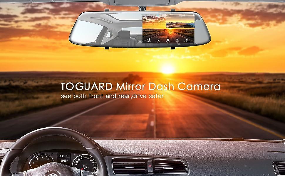 amazon com backup camera 4 3 mirror dash cam 1080p toguard touch