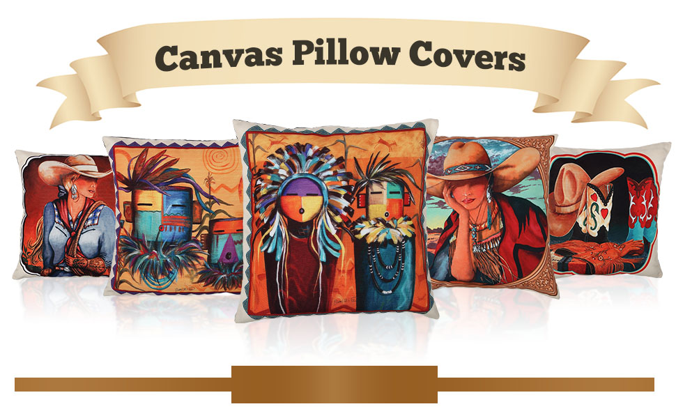 rodeo native american canvas pillow cover western southwest cowgirl cowboy texan new mexico