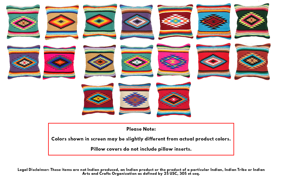 El Paso Designs Serape Throw Pillow Cover, 18 X 18, Hand Woven in Southwest and Native American Styles. 3