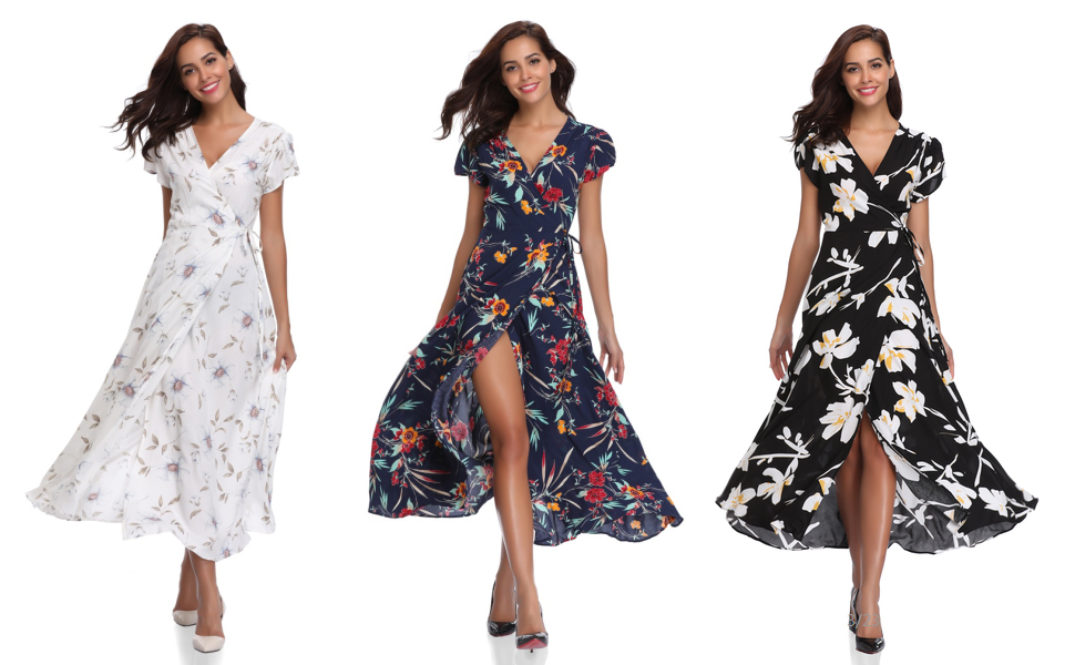 42c54b4649a3 Floating Time Women's Floral Print Short Sleeve Maxi Wrap Dress. dress