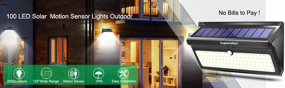 100 LED Solar Lights Motion Sensor