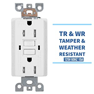 GFCI, Weather Resistant Outlet, Tamper Resistant, Self Testing, Weather proof outlet