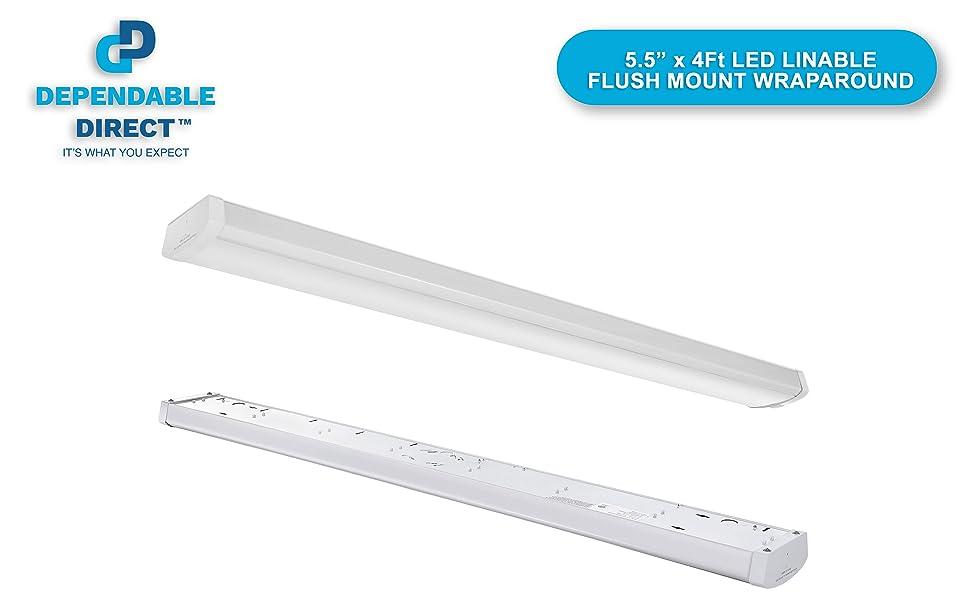 48W Linkable LED Wraparound Flushmount Light 4ft,led shop light,4000Lumens