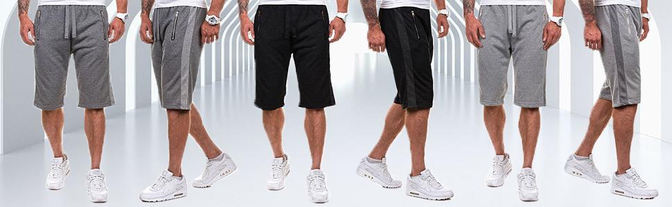 MODCHOK Mens Jogger Shorts Sports Sweatpants Gym Pants Flat Fitness Bottoms Trousers