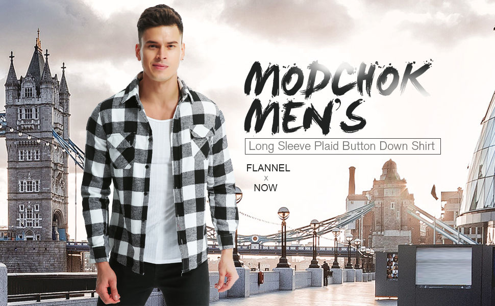 03a7d27a3c0 MODCHOK Men s Long Sleeve Plaid Flannel Shirts Slim Fit Button Down Casual  Woven Tops